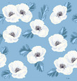 white anemones on the blue seamless pattern vector image
