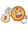 with money bag pizza character cartoon style vector image vector image