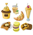 delicious dessert chocolate pancakes waffles and vector image