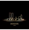 Gold silhouette of Denver on black background vector image