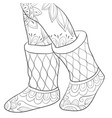adult coloring bookpage a pair boots image vector image vector image