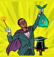 african magician with dollar money vector image vector image