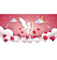 angel cupid cartoon cloud landscape vector image