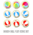 beach ball icon set flat vector image vector image