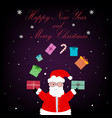 beautiful card with santa claus and presents vector image vector image
