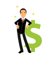 businessman character leaning on a giant dollar vector image