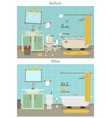 cartoon dirty organized and clean bathroom