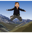 cartoon frightened man jumping vector image