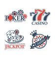casino jackpot and poker club isolated promotional vector image vector image
