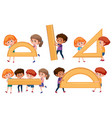 children holding math tool vector image