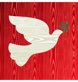 Christmas wooden dove of peace vector image vector image