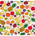 Colored fruits doodle seamless on white background vector image