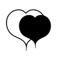 contour nice hearts to love and romance symbol vector image vector image