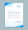 corporate blue wave letterhead design vector image vector image