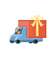 delivery worker in truck transportation vector image