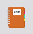 diary book icon simple flat orange color with vector image vector image