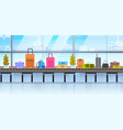 different suitcases on baggage conveyor belt in vector image