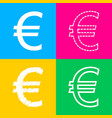 euro sign four styles of icon on four color vector image vector image