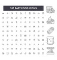 fast food editable line icons 100 set vector image vector image