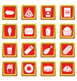 fast food icons set red vector image vector image