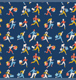 flat seamless pattern trendy running girls and vector image