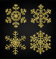 golden glitter snowflakes vector image