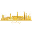 hamburg city skyline golden silhouette vector image vector image