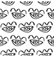 hand drawn eye doodles seamless pattern vector image