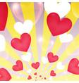 happy valentine day yellow sunburst hearts flying vector image vector image