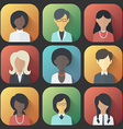 icons set persons female different ethnic vector image vector image