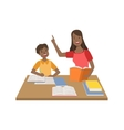 Mother And Child Doing Homework Together vector image vector image