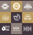 musical logo audio studio badges sound waves vector image