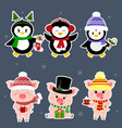 new year and christmas card a set sticker of vector image