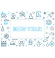 new year modern outline horizontal frame vector image vector image