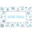 new year modern outline horizontal frame vector image