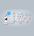 people group near chatbot roboot chat bubble vector image vector image