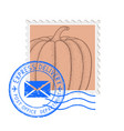postal stamp with pumpkin and blue round postmark vector image vector image