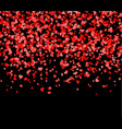 red and pink hearts falling from the sky vector image vector image
