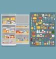 refrigerator with fooddrinks and kitchenware vector image vector image