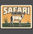 safari hunting retro banner with african animal vector image vector image