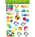 Set of colorful flat paper infographic design vector image