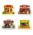 set of different colorful shops bakery meat shop vector image vector image