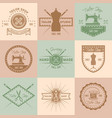set tailor shop colored vintage emblems vector image