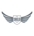 shield wing logo simple gray style vector image vector image