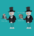 snowmen in suits and top hats offering a new flat vector image