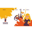 travel in europe landing page with woman and vector image