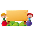 two boys on big ball playing by the wooden sign vector image vector image