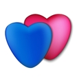 Two hearts pink and blue on a white background vector image