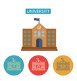 university building flat icons set vector image vector image