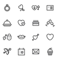 Valentine Day outline icons executed in the vector image